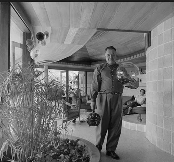 Fred Hollingsworth in the Trethewey Residence he designed in 1961. Photo courtesy of Selwyn Pullan.