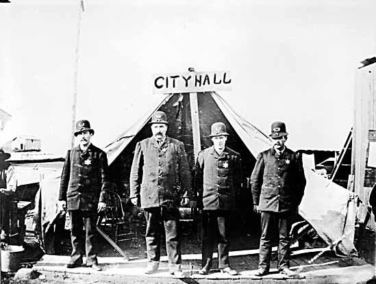 The Vancouver Police Department outside City Hall in 1886 VPL #1090