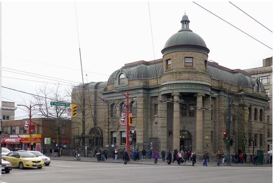 Photo of Carnegie centre and former site of Market Hall courtesy Changing Vancouver blog