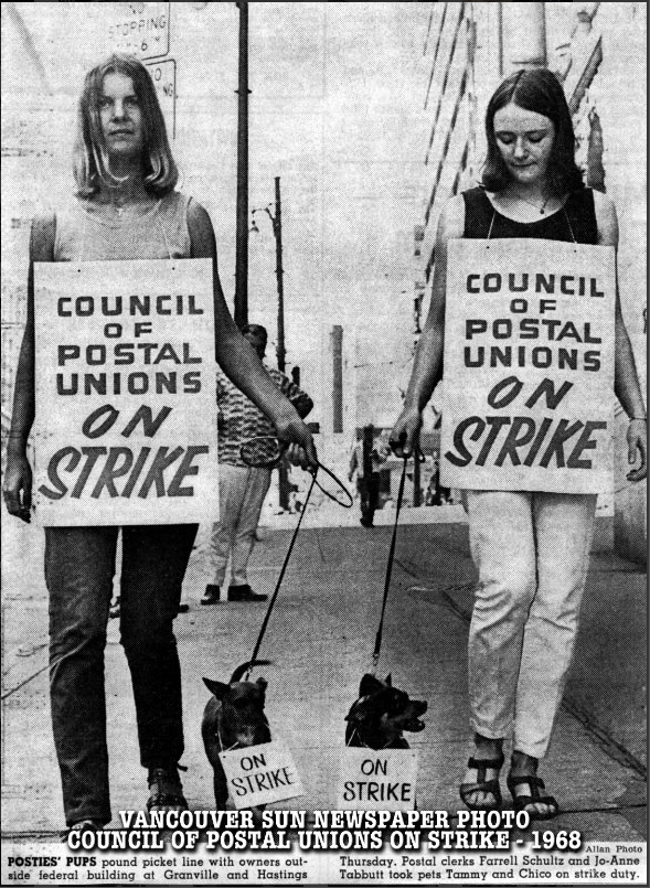 During the 1960s and '70s the central post office was the site of almost annual work stoppages and strikes. Photo courtesy Vancouver Heritage Club