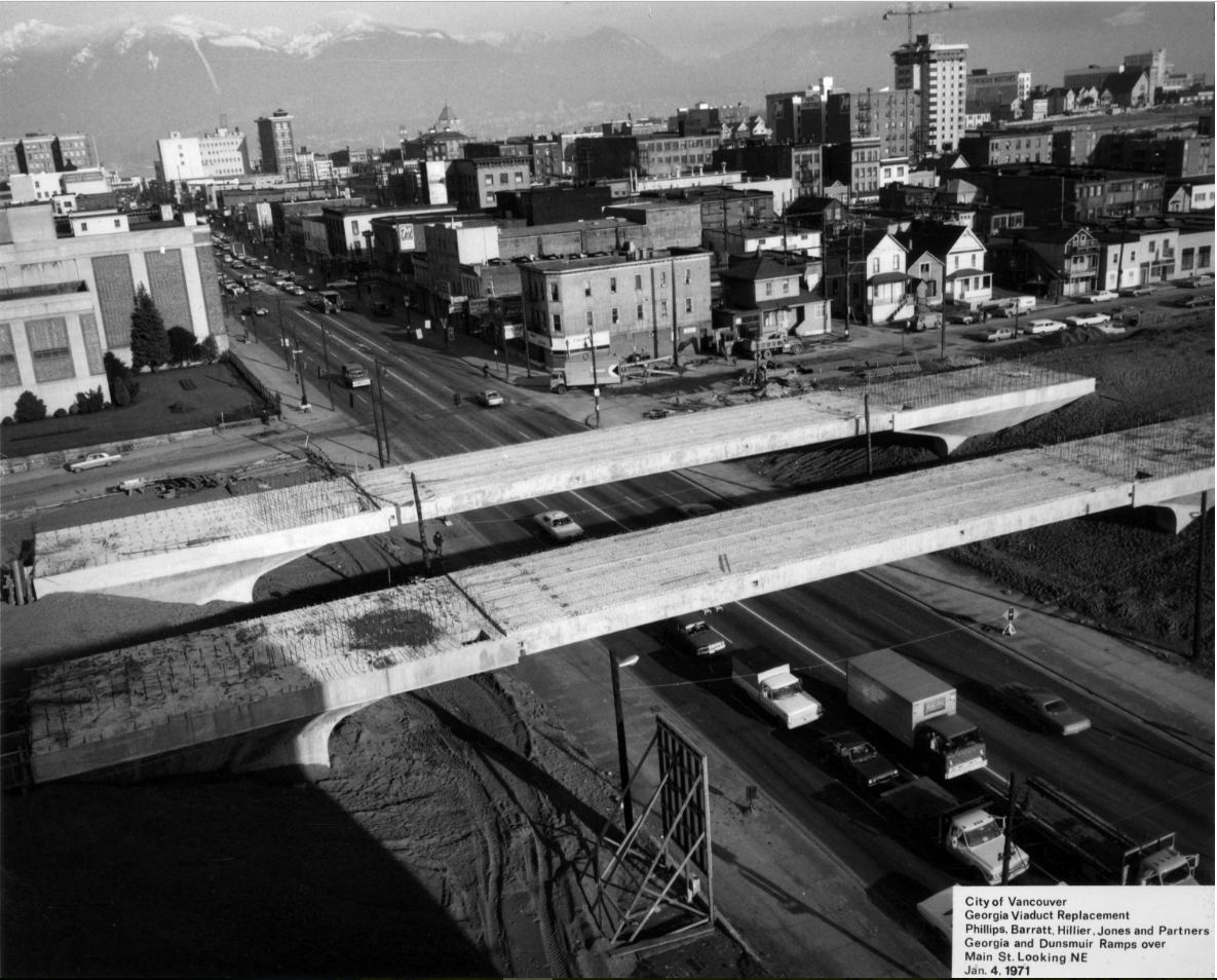 The almost new Georgia Viaduct in 1971. CVA 216-1.23